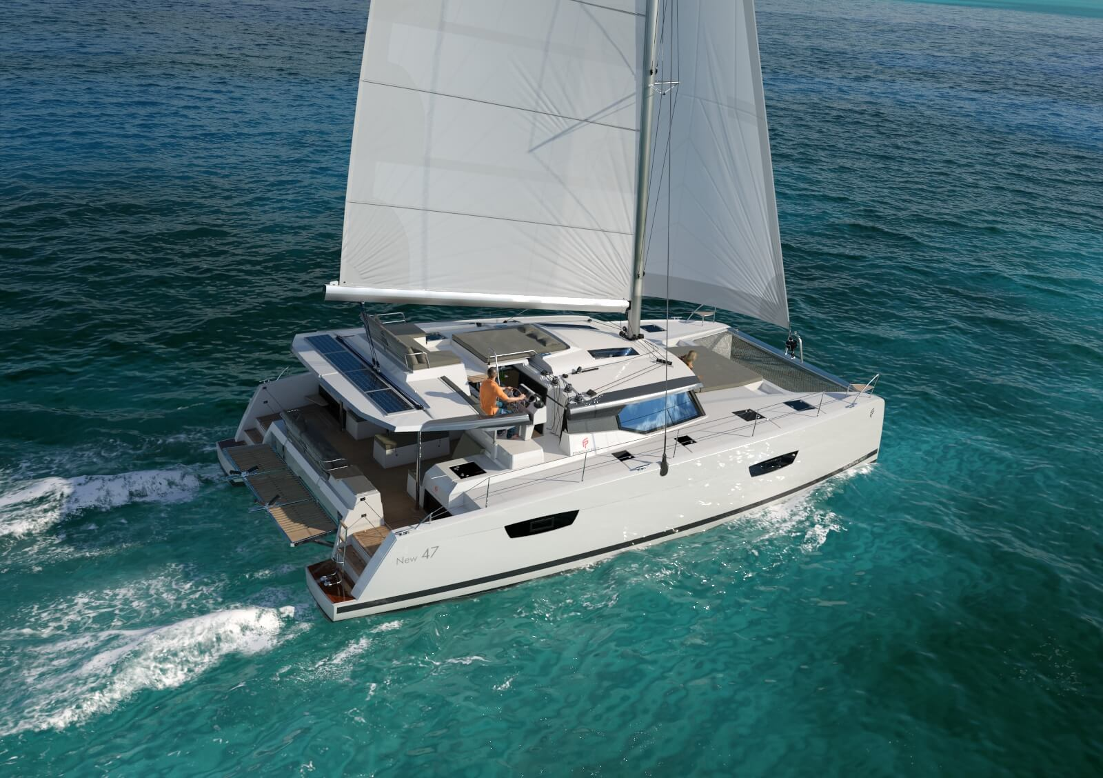 The new sailing catamaran Fountaine Pajot 47, currently under construction for Yates Mallorca