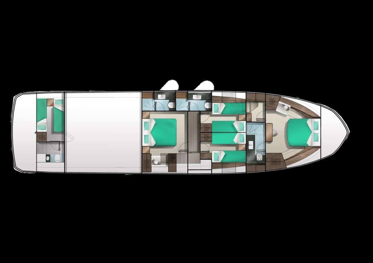 640 lower deck four cabin charter layout