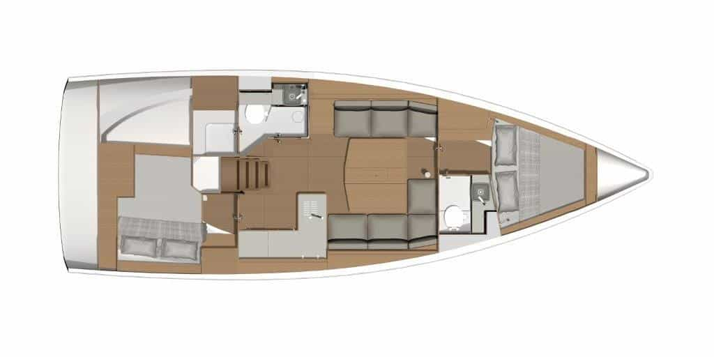 The floor plan on this version of the Dufour 390 sailboat offers the spacious owner's cabin with bathroom and separate shower at the stern. The guest cabins in the bow also have a bathroom with a separate shower. This division is ideal for owners with two guests.