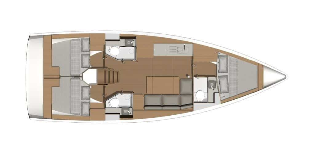 The layout plan of the sailing boat Dufour 390 in this version with three cabins and three bathrooms is suitable for charter or owner groups. In bow and stern there are three equivalent double cabins and each cabin has an individual bathroom.