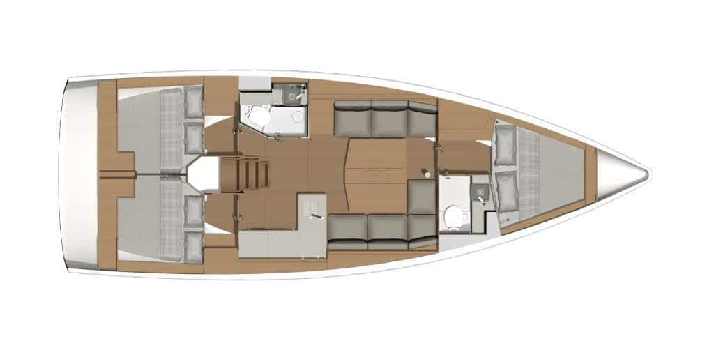 Private owners traveling with family or good friends in the Mediterranean will love the generosity and convenience of this layout version of the Dufour 390 sailing yacht. By dispensing with the third bathroom, the salon gains in size.