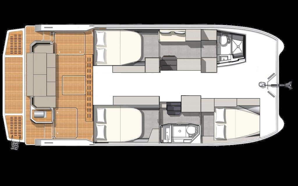 The Maestro layout version of the luxury Fountaine Pajot MY4.S power catamaran offers an owner suite with bath and 2 double guest cabins with one head