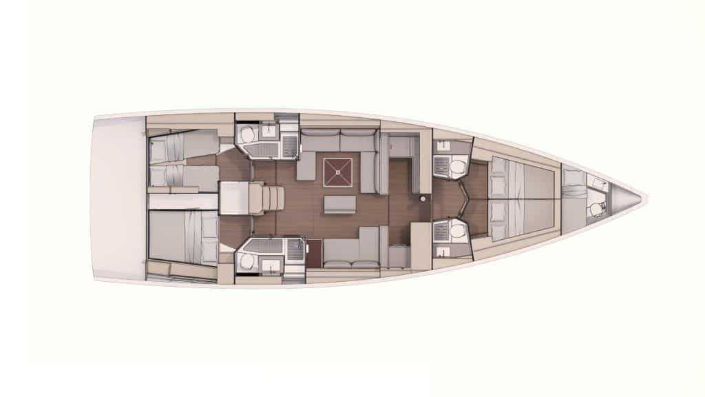 The layout plan of the sailing boat Dufour 530 in this version with four cabins and four bathrooms is very suitable for comfortable charter or owner groups. In the bow and in the stern there are 2 equivalent double cabins and each cabin has an individual bathroom.