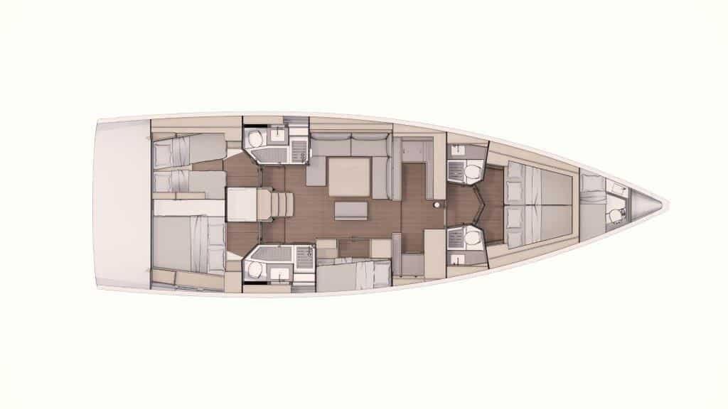 Die Grundriss Version des Bootes Dufour 530 mit fünf Kabinen und vier Bädern eignet sich sehr gut für große Familien und Charter crews. Die Stockbettenkabine verkleinert den Salon um das Sofa. Eine Skipperkabine, welche auch für Kinder genutzt werden kann, gibt es zusätzlich im vorderen Teil der Yacht. Die Bäder sind angemessen groß und haben teilweise abgetrennte Duschen.
