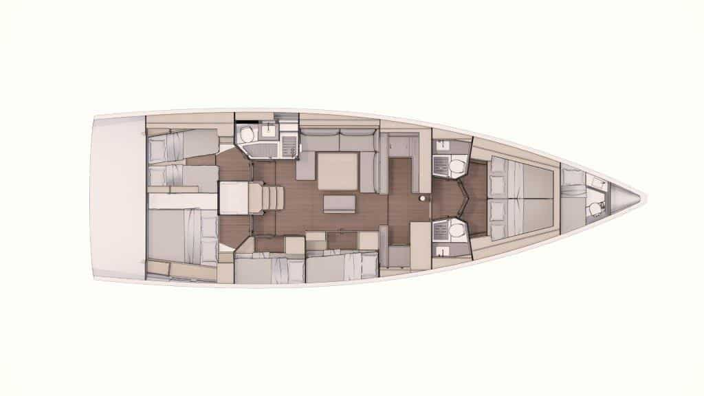 This version of the layout plan of the Dufour 530 offers the maximum of cabin space. The total of six cabins are divided into four double cabins and two cabins with bunkbeds, that share three heads. In addition there is a skipper cabin in the bow.
