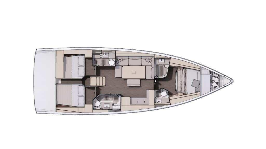 El plano de distribución en esta versión del velero Dufour 470 ofrece la espaciosa cabina del propietario con baño y ducha separada en la parte delantera y dos cabinas dobles más en la popa. Las dos cabinas de invitados también tienen cada una un espacioso baño con ducha separada para. Esta división es ideal para propietarios con familia o invitados.