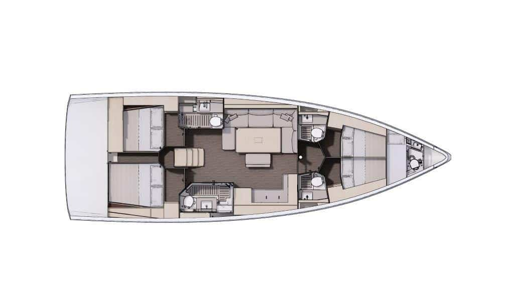 The layout plan of the sailing boat Dufour 470 in this version with four cabins and four bathrooms is very suitable for comfortable charter or owner groups. In the bow and in the stern there are 2 equivalent double cabins and each cabin has an individual bathroom. The galley is arranged at starbord side.