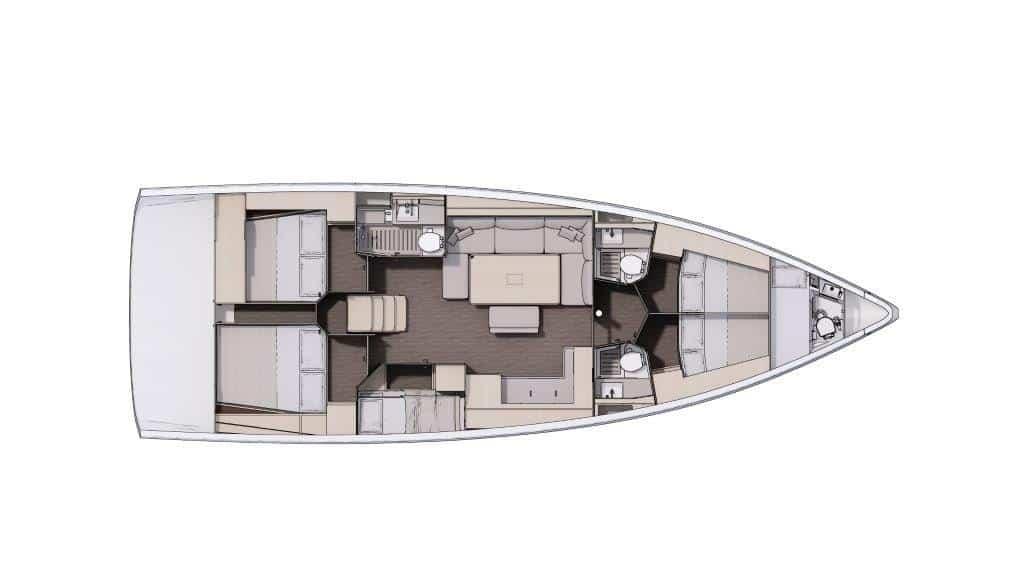 Die Grundriss Version des Bootes Dufour 470 mit fünf Kabinen und vier Bädern eignet sich sehr gut für große Familien und Charter crews. Die Stockbettenkabine verkleinert den Salon um das Sofa. Eine Skipperkabine, welche auch für Kinder genutzt werden kann, gibt es zusätzlich im vorderen Teil der Yacht. Die Bäder sind angemessen groß und haben teilweise abgetrennte Duschen.
