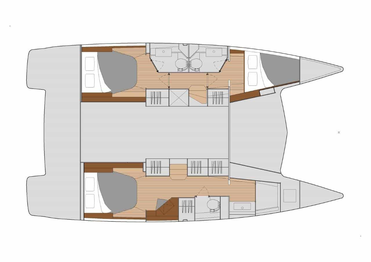 The layout version Maestro 3 of the sailing catamaran Fountaine Pajot Isla 40 offers the great owner suite with bath and two guest cabins with 2 heads