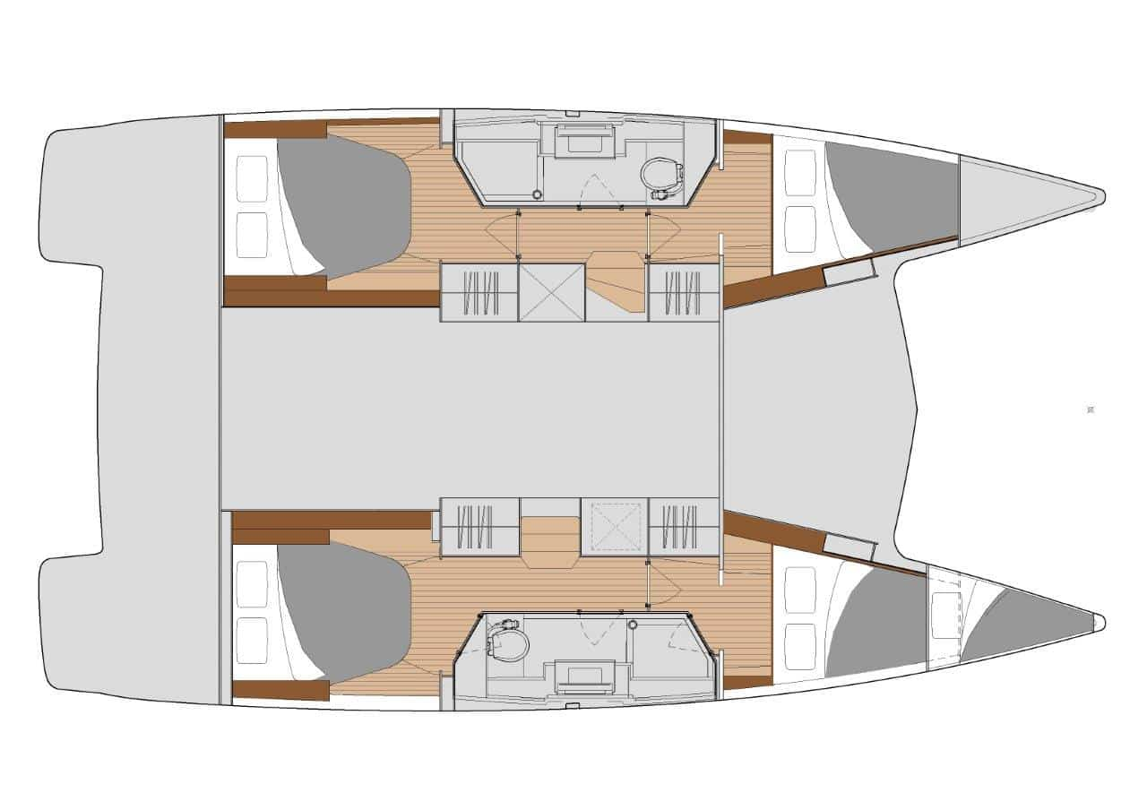 Quatuor 2 denotes the layout version of the sailing catamaran Fountaine Pajot Isla 40 with 4 cabins and 2 large bathrooms, perfect for large families.