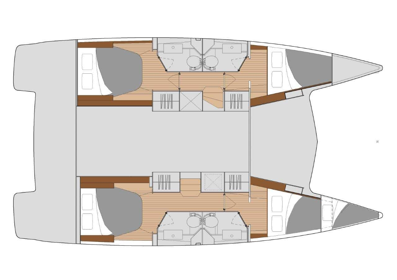 In the Quatuor 4 version, the sailing catamaran Fountaine Pajot Isla 40 is divided into 4 double cabins, each with its own bathroom.