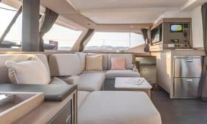 The chart table on the new Fountaine Pajot Isla 40 sailing catamaran can be reached quickly and easily right next to the main entrance to the salon and can be operated from two sides.