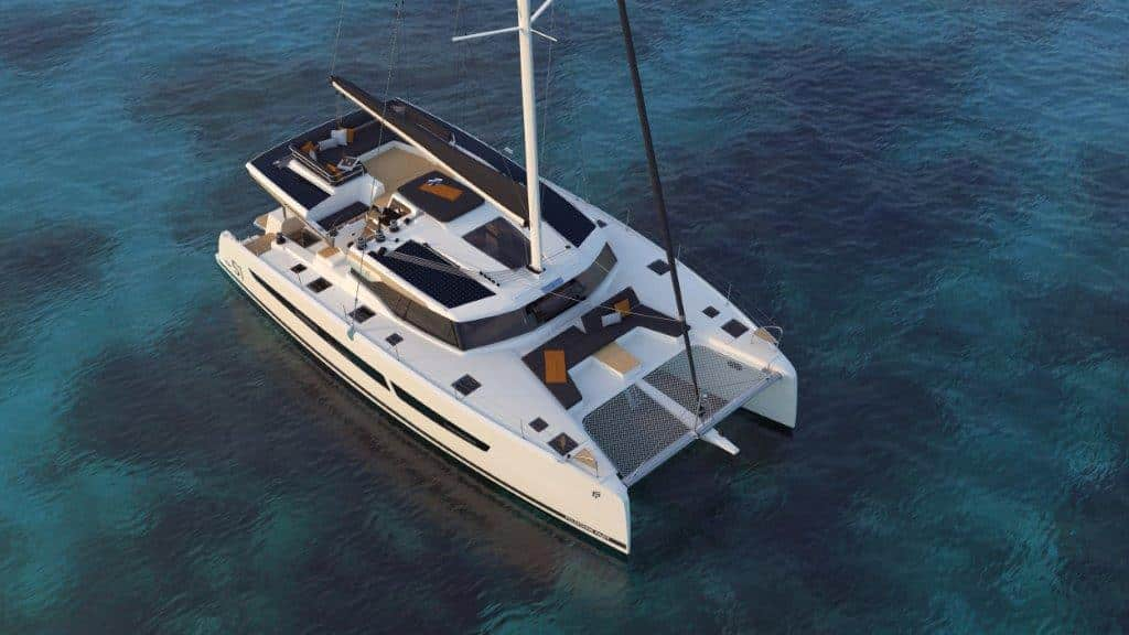 At the bow, the Fountaine Pajot New 51 sailing catamaran is equipped with inviting lounge chairs. There is always a mild breeze blowing here.