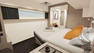 The modern cabin design of the Fountaine Pajot New 51 sailing catamaran.
