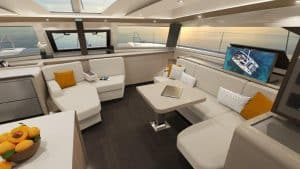 The two sofa areas in the sailing catamaran Fountaine Pajot New 51 invite you to relax, chat together, computer surfing or watching TV