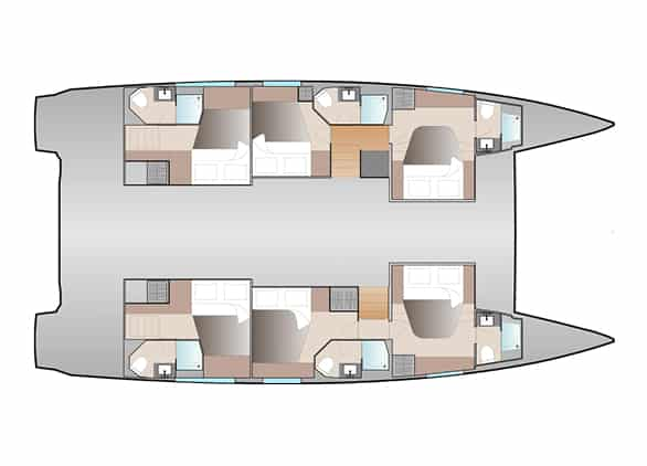 The floor plan version of Fountaine Pajot New 51 sailing catamaran with 6 cabins and 6 bathrooms is very suitable for large families and charter crews