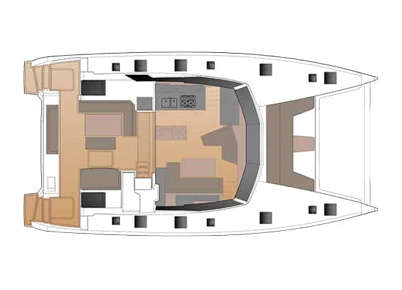 The layout of salon and cockpit of the Fountaine Pajot New 51 sailing catamaran offers spacious and open livingspace and leaves nothing to be desired.
