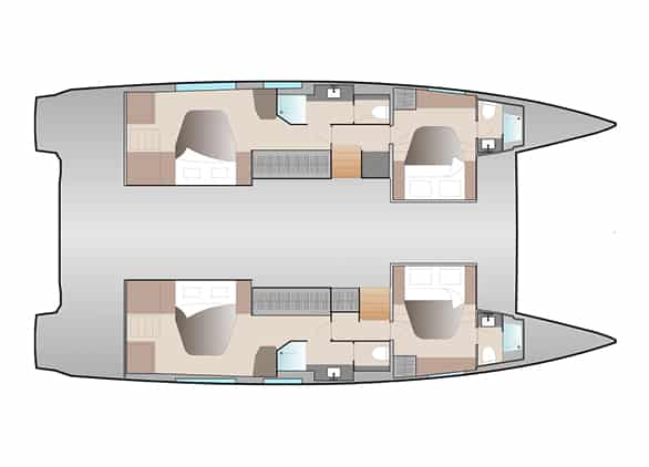 The layout version double Maestro of Fountaine Pajot New 51 sailing catamaran offers 2 large owner's cabins and 2 guest cabins all with own bathroom