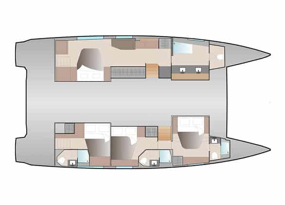 The layout version Maestro of the Fountaine Pajot New 51 sailing catamaran offers the greatest owner suite, huge bath and 3 guest cabins with 3 heads
