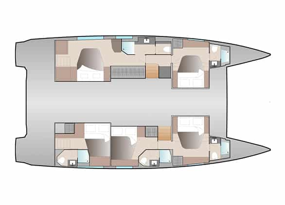 The Maestro layout version 5 cabins of the Fountaine Pajot New 51 sailing catamaran offers a owner suite with bath and 3 guest cabins each with head