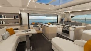 The salon of Fountaine Pajot New 51 has an open concept with huge sliding doors opening up compleatly to the cockpit perfect for navigation in Majorca