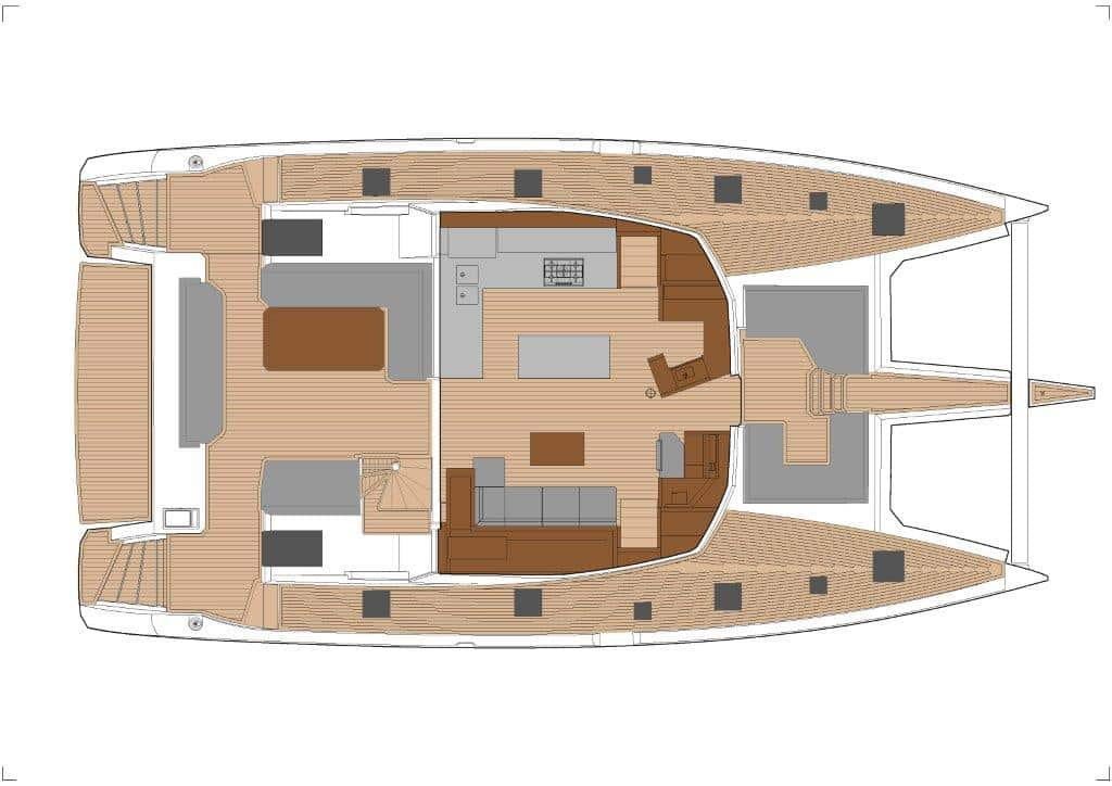 The layout of salon and cockpit of the Fountaine Pajot Samana 59 catamaran with galley up offers an open livingspace and leaves nothing to be desired.