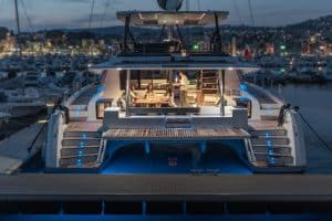 The LED lighting concept on board the Fountaine Pajot Samana 59 sailing catamaran conjures up a wonderful ambience outside and underwater.