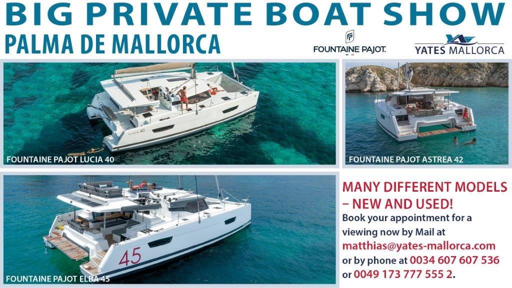 Como distribuidor oficial de Fountaine Pajot para las Islas Baleares, podemos abrir la temporada de ferias privadas de este año 2021 en Mallorca.