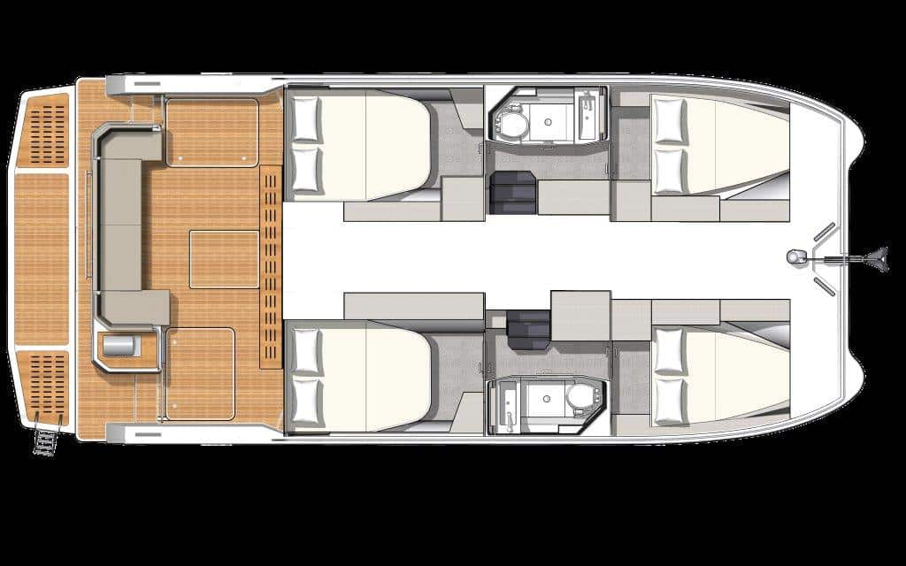 In the 4-cabin version of the Fountaine Pajot MY4.S, each of the hulls is equipped with 2 equivalent double cabins and a bathroom.