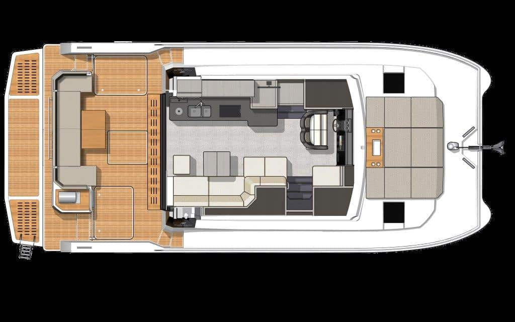 The rear cockpit of the Fountaine Pajot MY4.S power catamaran extends the salon with a further dining area outside through large sliding doors.