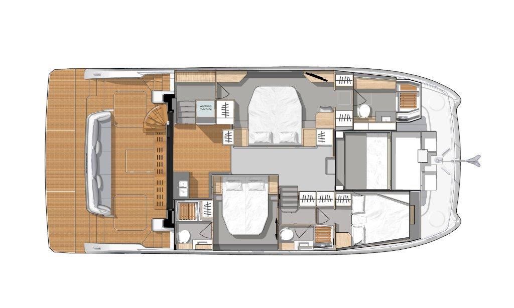 The port hull of the Fountaine Pajot MY6 is reserved for the spacious owner's cabin with large bathroom and the starboard hull has two cabins and bath