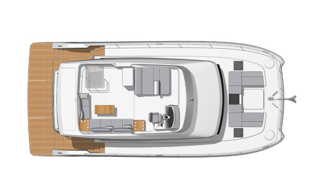 The Fountaine Pajot MY6 yacht has a huge flybridge with outdoor kitchen, seating and sunbathing area, helmstation and a wonderful all-round view.