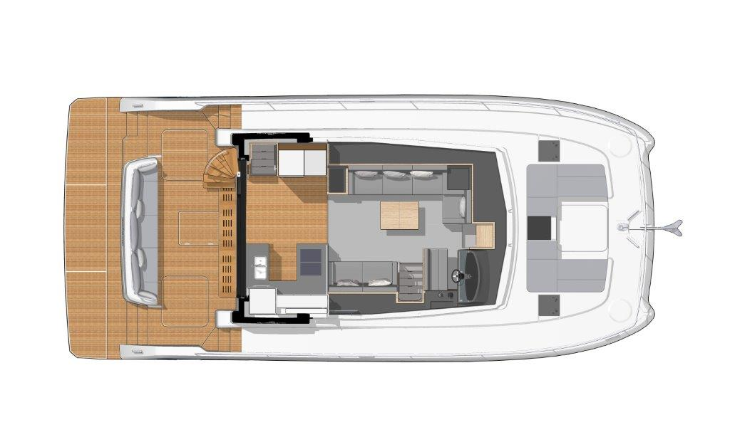 The modern, open salon of the Fountaine Pajot MY6 combines steering position, the variable sofa-dining area and the kitchen with a bar to the rear.